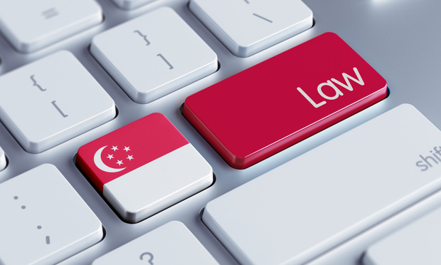 singapore flag on keyboard with Law key