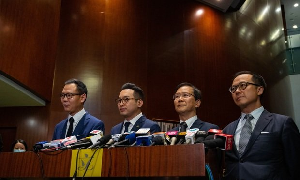 Opposition lawmakers (L to R) Dennis Kwok, Alvin Yeung, Kwok Ka-ki and Kenneth Leung.