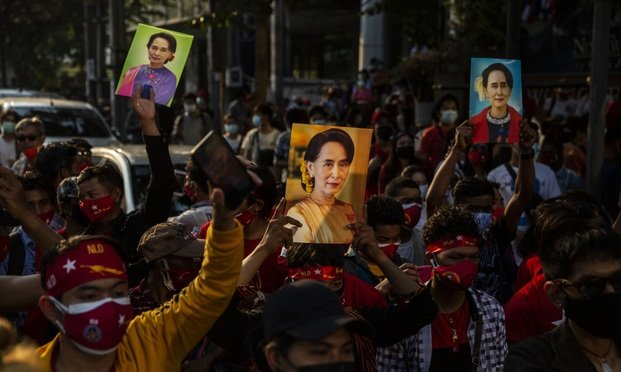 Protest at the Embassy of Myanmar in Bangkok as Military Take Power in Myanmar for one year
