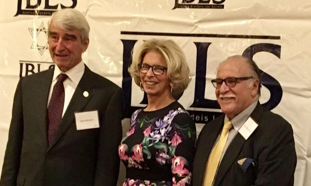 Actor Sam Waterston, Chief Judge Janet DiFiore and Second Dept. Justice Jeffrey Cohen