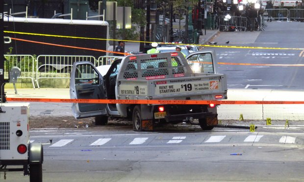 The Home Depot rental truck used by perpetrator Sayfullo Saipov during the 2017 Lower Manhattan attack.