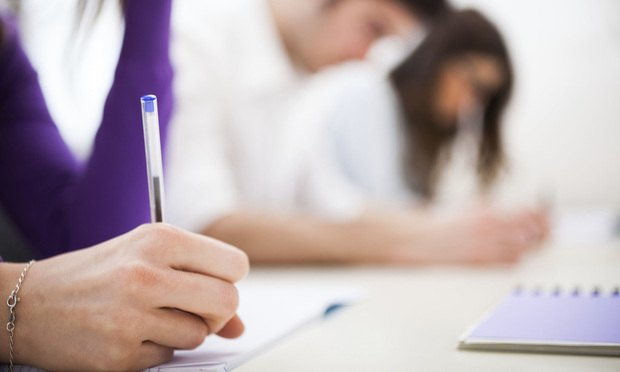 Students taking test, test takers