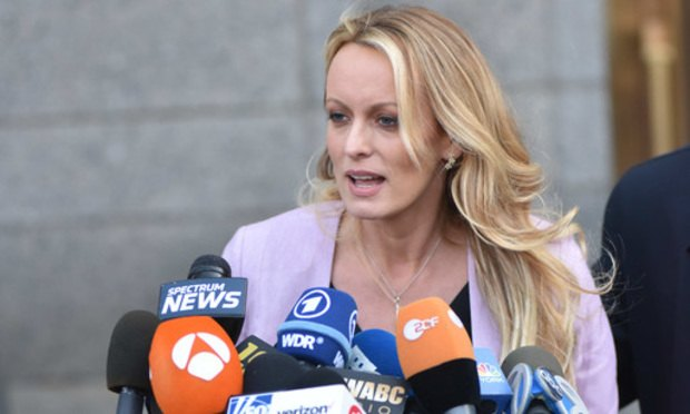 Stormy Daniels speaks after leaving the Daniel P. Moynihan Courthouse in Manhattan after a hearing in front of Judge Kimba Wood regarding a search warrant that was executed at the home, hotel and office of Trump's lawyer Michael Cohen