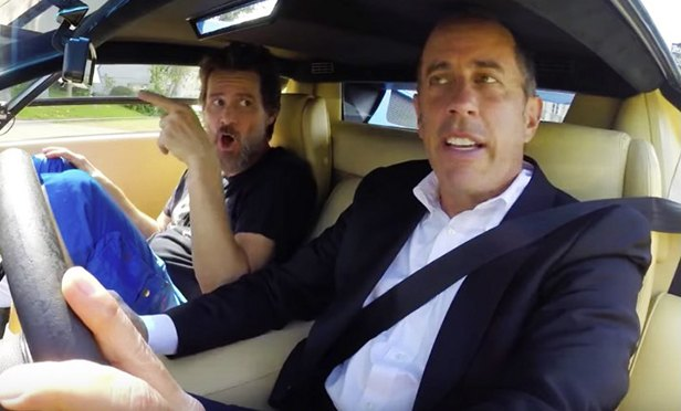 "a still photo from ""Comedians in Cars Getting Coffee."""