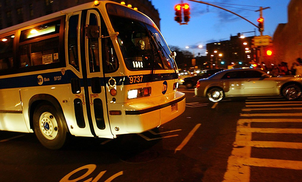 An MTA bus. Photo: Ramin Talaiel/Bloomberg News
