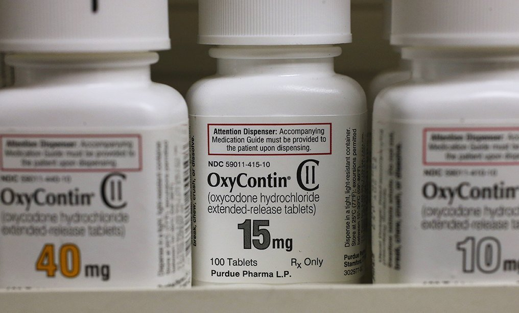 Bottles of Purdue Pharma OxyContin, an opioid medication.