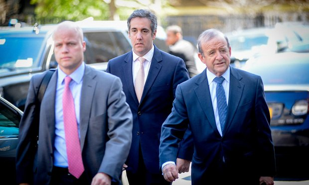 President Trump's attorney Michael Cohen, center, arrives at federal court in Manhattan on Thursday, April 26, 2018 with his attorney Todd Harrison, left and attorney Stephen Ryan, right. ..(Photo by David Handschuh/NYLJ)