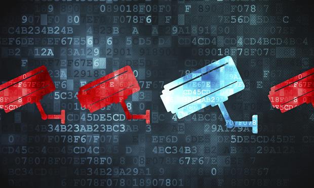 Security concept: Cctv Camera on digital background