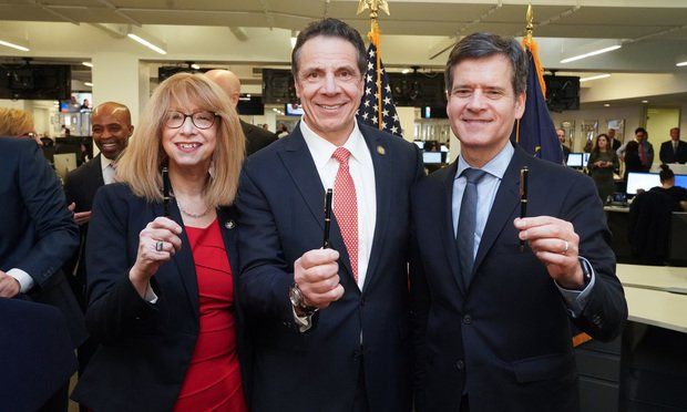 Assemblywoman Linda B. Rosenthal, Gov. Andrew Cuomo, and State Sen. Brad Hoylman after the Child Victims Act was signed Thursday. Phot courtesy of Gov. Cuomo's office.