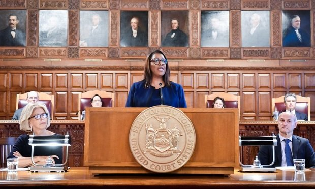 Attorney General Letitia James speaks during a Law Day ceremony.