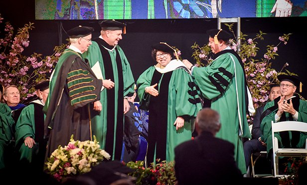 From left to right, Manhattan College President Brennan O'Donnell, Trustee Patrick Boyle, Supreme Court Justice Sonia Sotomayor and Kenneth Rathgeber, Chair of the Board of Trustees.