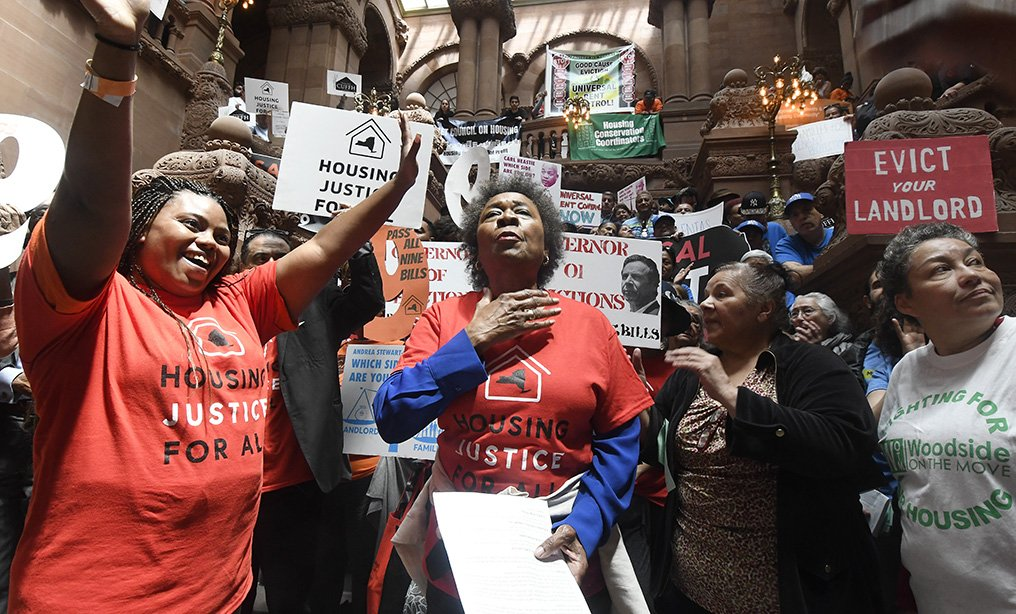Tenants and members of the Upstate Downstate Housing Alliance from across the state rally at the state Capitol last week in Albany.
