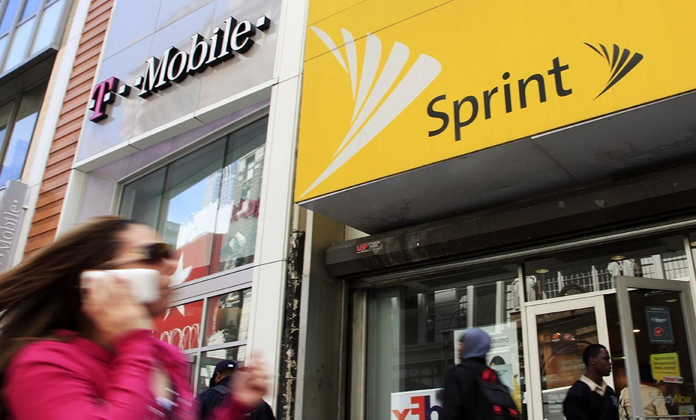 T-Mobile and Sprint stores in Manhattan.