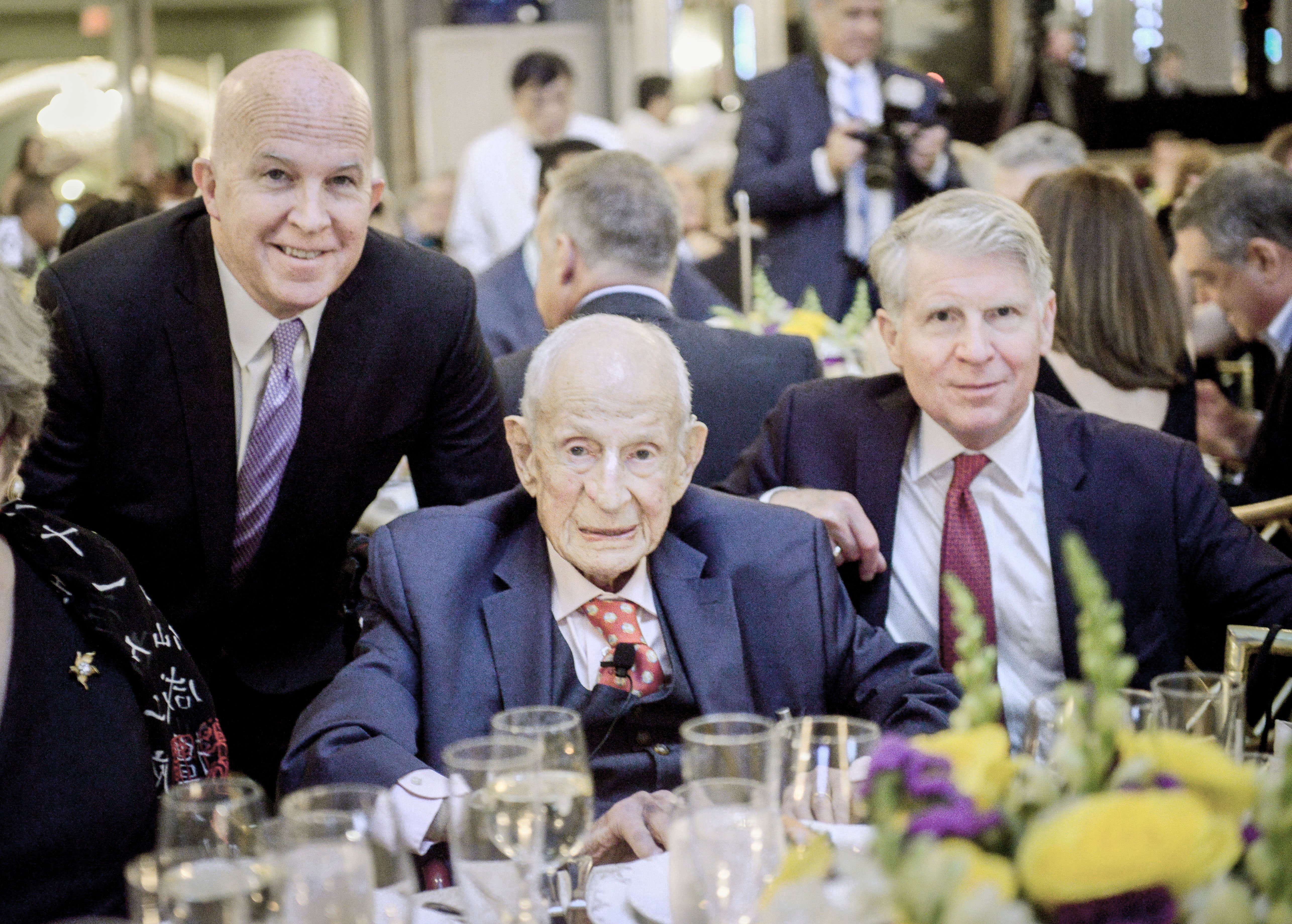 NYPD Police Commissioner James P. O'Neill, left and current District Attorney Cyrus Vance Jr, right, join former Manhattan District Attorney Robert M. Morgenthau at a celebration of his 100th birthday on June 26th, 2019 at the Pierre Hotel in Manhattan. The event was hosted by the Police Athletic League, a charity that Morgenthau chaired for 57 years. (Photo by David Handschuh/NYLJ)