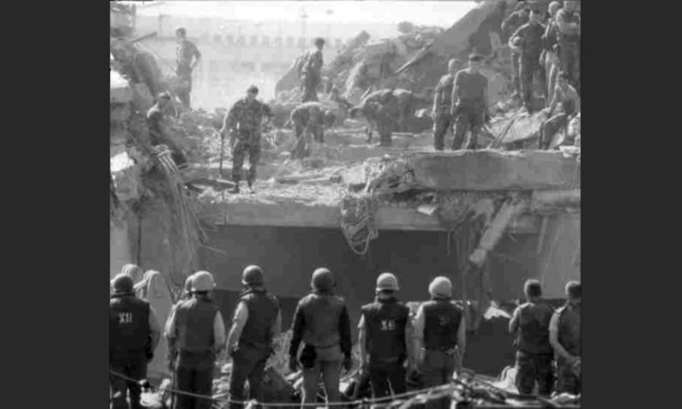 Marine Barracks in Beirut moments after bombing, October 23, 1983. Photo: U.S. Department of Defense
