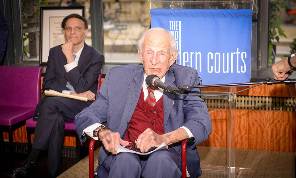 The Fund for Modern Courts presented the John J. McCloy Memorial Award to former Manhattan District Attorney Robert Morgenthau at the Bryant Park Grill in May. Robert A. Katzmann, left, Chief Judge of the U.S. Court of Appeals for the Second Circuit, introduced Mr. Morgenthau.