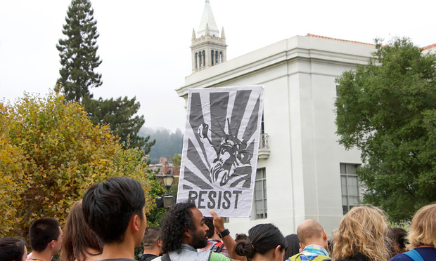 Protestors in Sproul Plaza on the UC Berkeley Campus