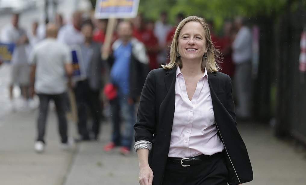 Queens Borough President and candidate for district attorney Melinda Katz arrives at her polling place in Queens in June.