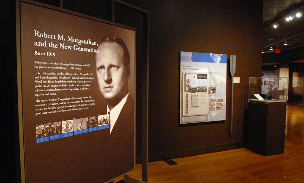 """Exhibit of """"The Morgenthaus: A Legacy of Service""""  at The Museum of Jewish Heritage in lower Manhattan in 2009, the year Robert Morgenthau retired as Manhattan district attorney after 35 years on the job."""