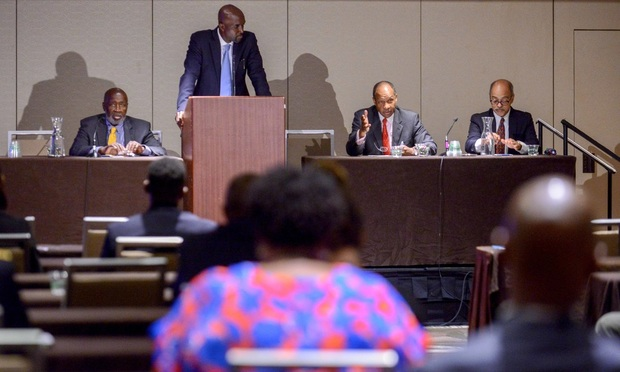 Xavier Donaldson of Donaldson &; Chilliest, second from left, moderates a federal judges panel discussion with, left to right, Judges Sterling Johnson of Eastern District, George Daniels of Southern District and Ramon Reyes of Eastern District during the National Bar Association's 94th Annual Convention at the Sheraton Hotel in New York City on Tuesday. Photo by David Handschuh/NYLJ