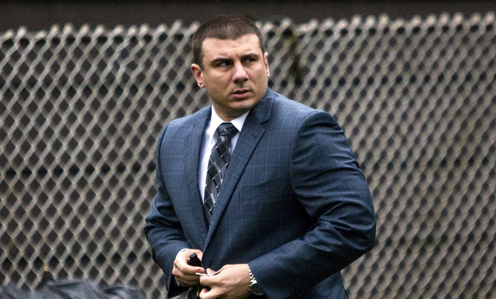 New York City Police Officer Daniel Pantaleo leaves his house in the Staten Island in May.