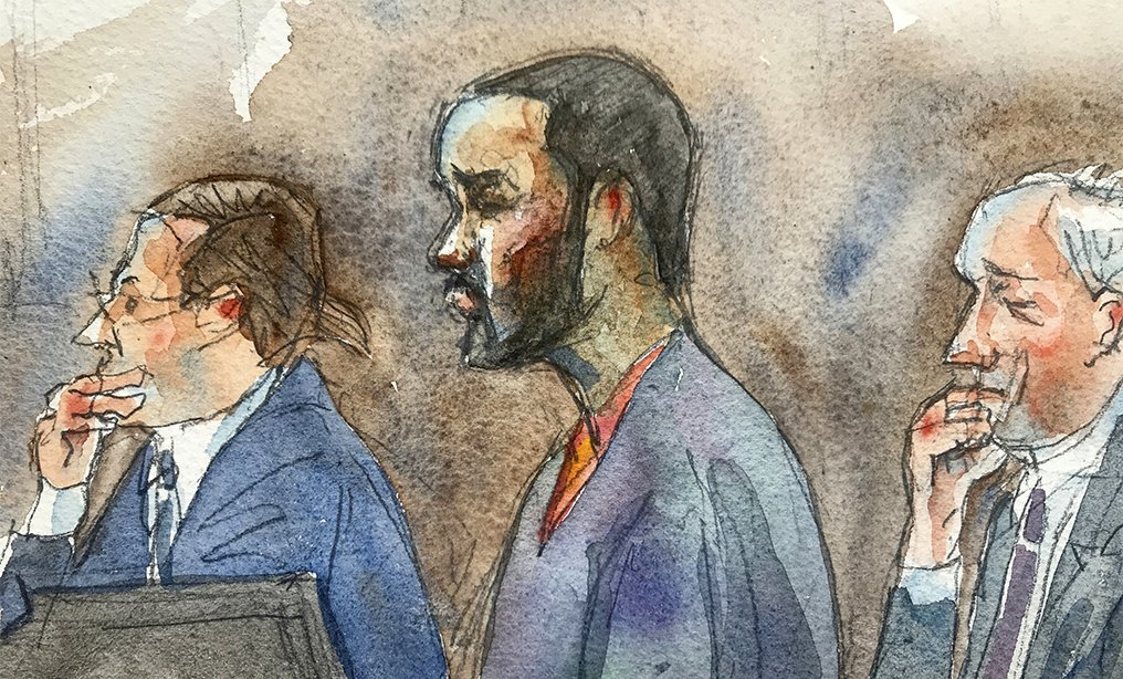 In this courtroom sketch, R&B singer R. Kelly, center, listens in federal court with his attorneys Doug Anton, left, and Steve Greenberg, during his arraignment on Friday in New York.