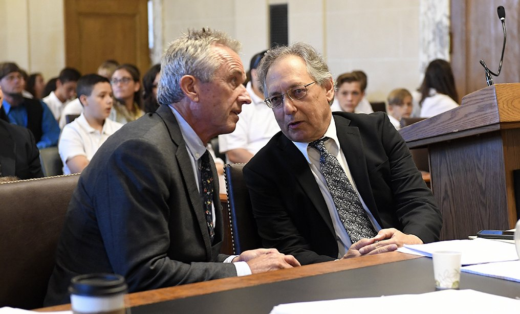 Attorneys Robert F. Kennedy, Jr. ,left, and Michael H. Sussman talk before the hearing at the Albany County Courthouse on Aug. 14.