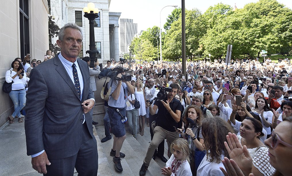 Attorney Robert F. Kennedy, Jr. speaks after a hearing outside the Albany County Courthouse last week.