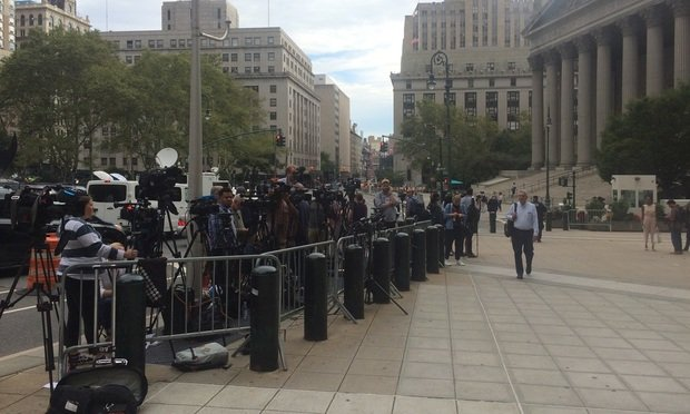 Media gathered outside the Southern District of New York Courthouse in Manhattan on Aug. 27, 2019, in advance of a posthumous hearing in the criminal case of Jeffrey Epstein.