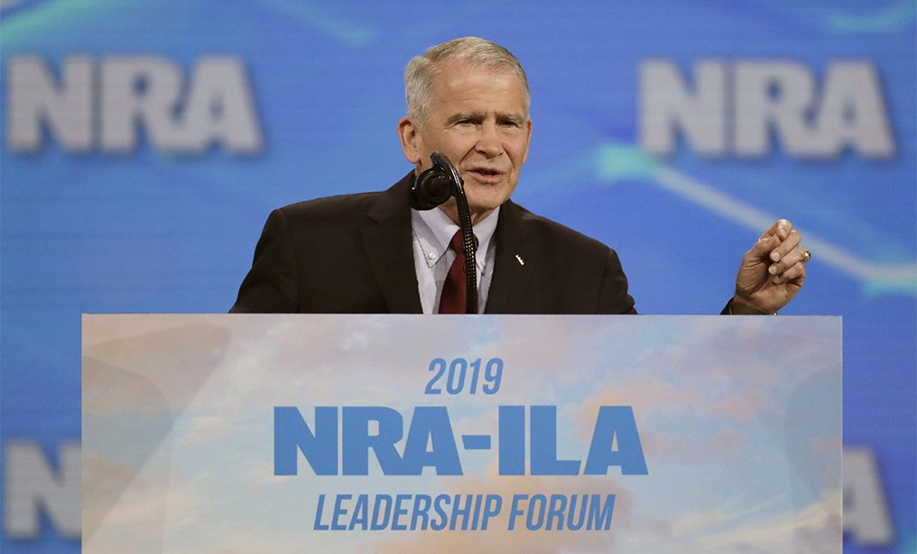 National Rifle Association President Col. Oliver North speaks at the National Rifle Association Institute for Legislative Action Leadership Forum at Lucas Oil Stadium in Indianapolis in April.