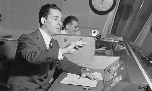 Himan Brown, right, works in a CBS radio studio in New York in 1943