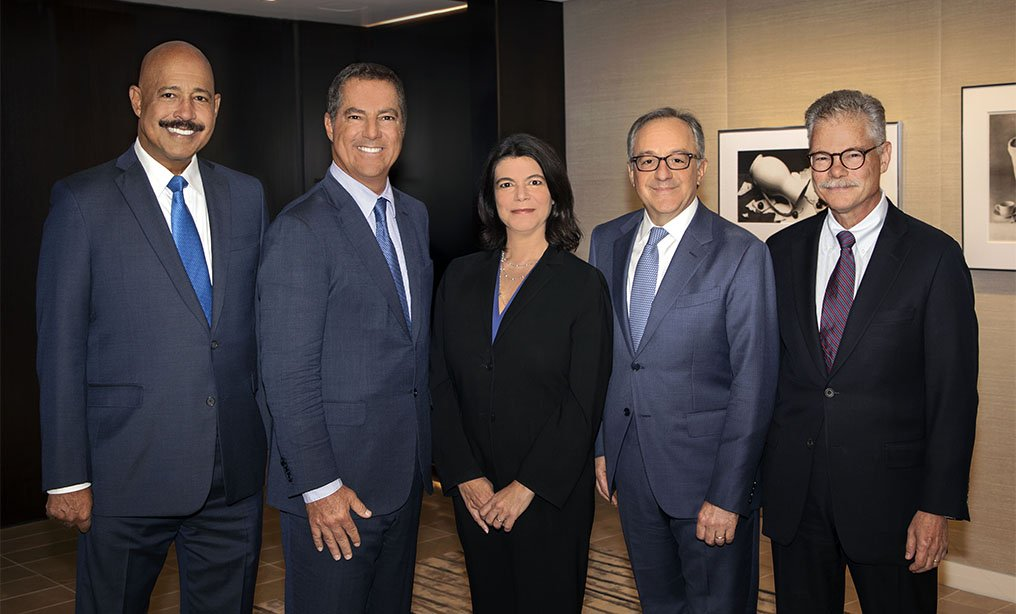 From left, Theodore V. Wells Jr., partner and co-chair of the litigation department, Brad S. Karp, chairman of the firm, Jacqueline P. Rubin, partner, Robert A. Atkins, partner and co-chair of the litigation department, and Daniel J. Kramer, partner (Photograph by Todd France)