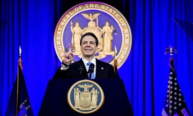 Governor Andrew Cuomo speaks during his inauguration ceremony on Ellis Island