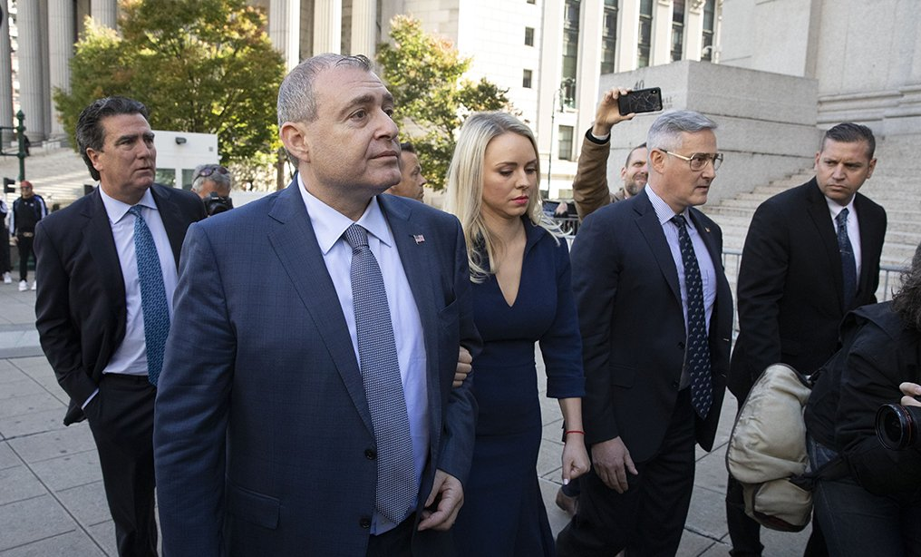Lev Parnas, second from left, an associate of Rudy Giuliani, arrives for his arraignment to the Southern District court in Manhattan on Wednesday, Oct. 23. Photo: Mark Lennihan/AP