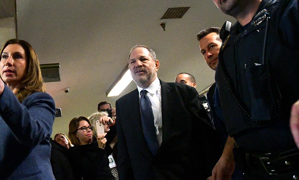 Harvey Weinstein exits the state supreme court in Manhattan in April. Photo: Louis Lanzano/Bloomberg