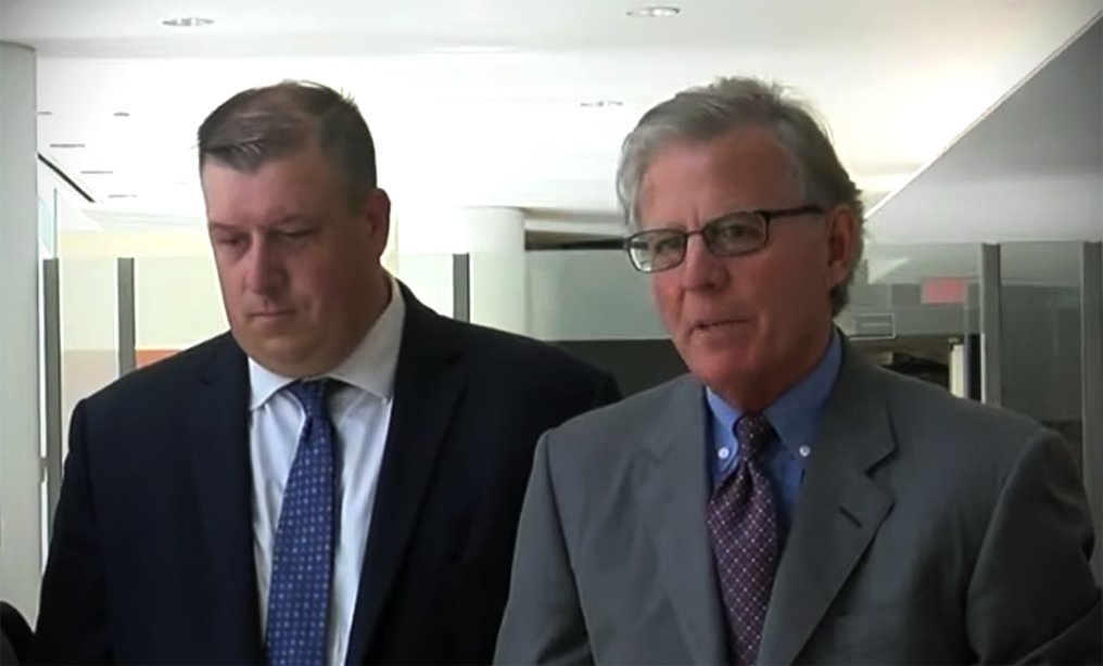 Buffalo police officer Corey Krug, left, with his attorney Terry Connors at the Western District court in Buffalo in July. Photo: YouTube/WKBW TV