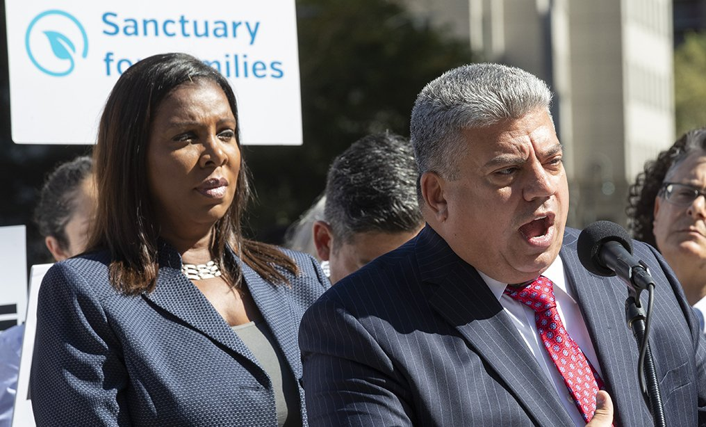 Brooklyn District Attorney Eric Gonzalez, joined by New York State Attorney General Letitia James, announced filing of two separate federal lawsuits against Immigration and Customs Enforcement in September. Photo: Mary Altaffer/AP