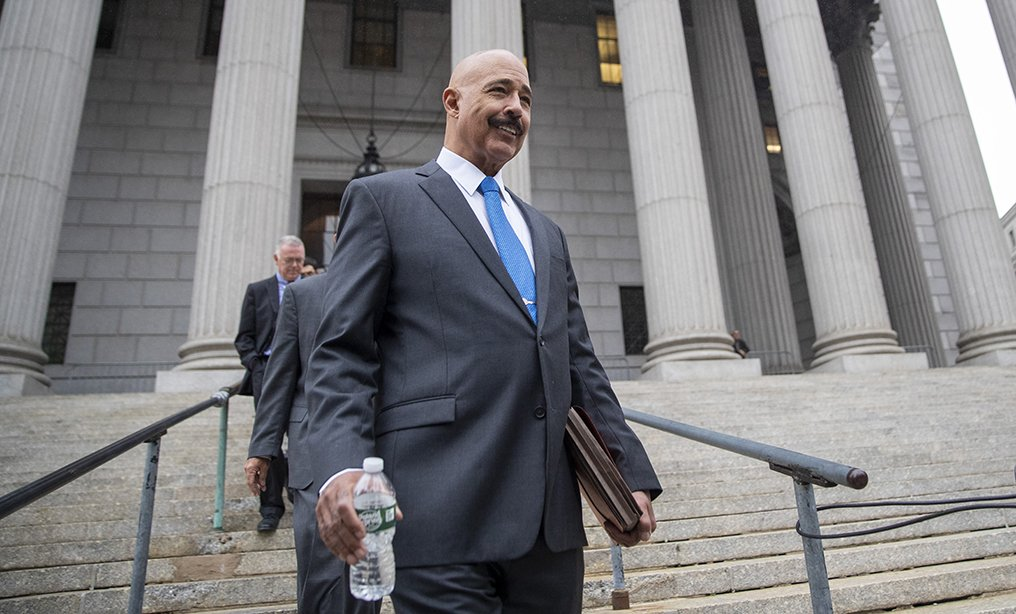 Ted Wells, Jr., the lead attorney for Exxon, leaves Manhattan Supreme Court in October. Photo: Mary Altaffer/AP