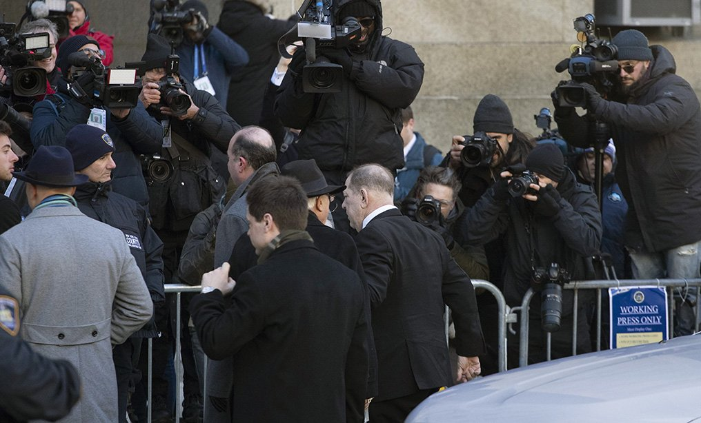 Harvey Weinstein, center, walks by the media on his way into a Manhattan courthouse on Wednesday, Jan. 22. Photo: Mark Lennihan/AP