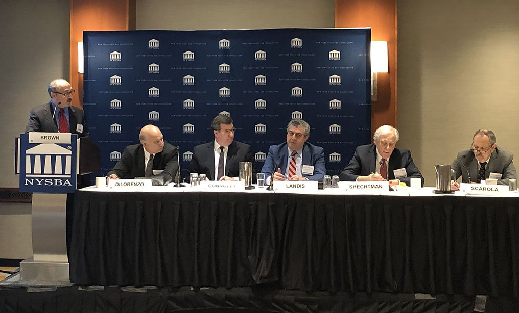 Managing Partners Roundtable, part of NYSBA's Law Practice Management (LPM) Day: L to R: Moderator: Craig S. Brown, Esq., Cadence Counsel, New York, NY; Louis P. DiLorenzo, Esq., Bond Schoeneck & King PLLC, New York, NY; Daniel S. Connolly, Esq.,Bracewell, LLP, New York, NY; Marc A. Landis, Esq., Phillip Nizer LLP, New York, NY; Ronald H. Shechtman, Esq., Pryor Cashman LLP, New York, NY; Richard J.J. Scarola, Esq., Scarola Zubatov Schaffzin PLLC, New York, NY. Courtesy photo of the NYSBA