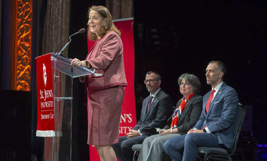 Southern District of New York Bankruptcy Judge Mary Kay Vyskocil speaks after receiving the John J. Murphy Award at the Annual St Johns University School of Law Alumni Association Luncheon on Friday January 24, 2020 at the Manhattan Center. Judge Vyskocil was recently confirmed as a U.S. District Judge in the Southern District of New York In back are, left to right: Brian Woods-Brian J. Woods Associate Dean for Law School Advancement: Margaret V. Turano-who received the shool's Lifetime Achievement Award and law school Dean Michael A. Simons