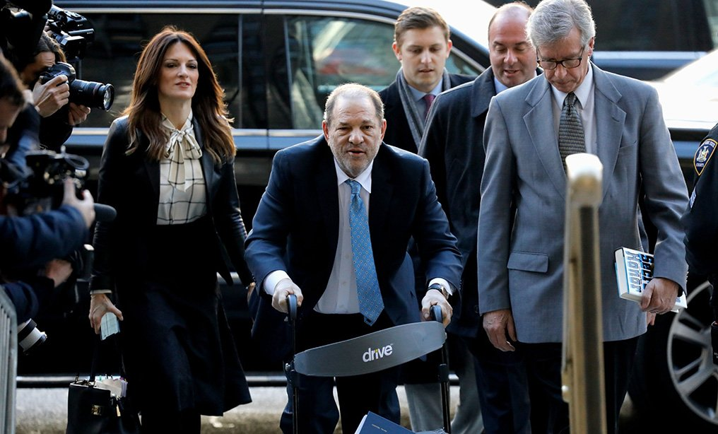 Harvey Weinstein, former co-chairman of the Weinstein Co., center, arrives with his attorney Donna Rotunno, left, at state supreme court in Manhattan on Monday, Feb. 24th. Photo: Peter Foley/Bloomberg