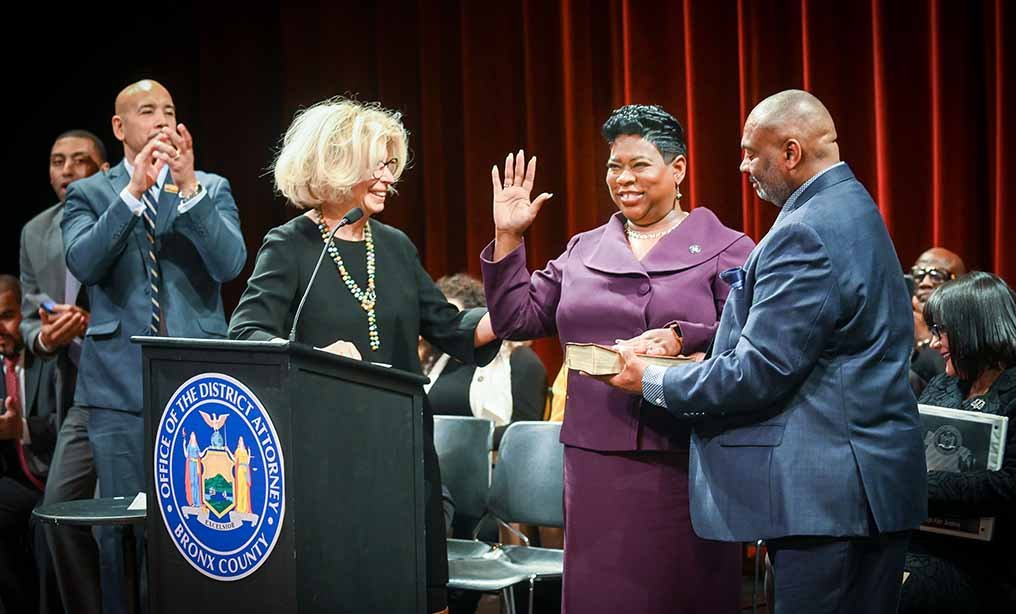 "Chief Judge Swears In Bronx DA. L-R – Chief Judge Janet DiFiore; DA Darcel D. Clark; and Detective Eaton ""Ray"" Davis (the DA's husband). Courtesy photo"