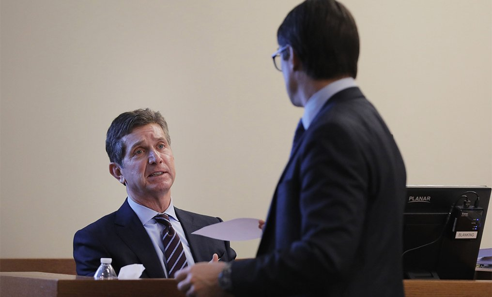 Alex Gorsky, chairman and CEO of Johnson & Johnson, takes the stand as he is questioned by the plaintiff's lawyer Chris Panatier, in New Jersey Supreme Court in New Brunswick, on Jan. 27. Photo: Reuters/Lucas Jackson
