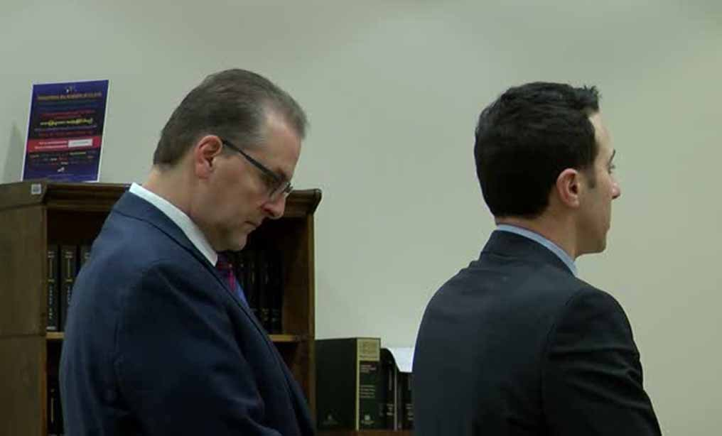 Michael Petucci, left, stands next to attorney Jonathan Cohn during Petucci's arraignment in City of Little Falls Court, N.Y. on Jan. 8, 2019. Photo: WKTV
