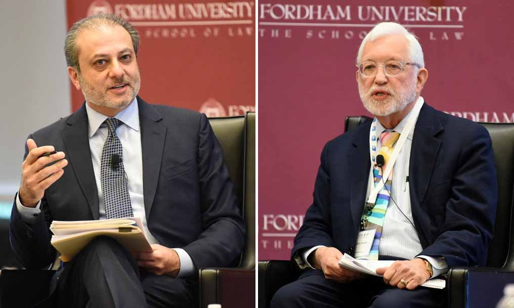 Preet Bharara, left, former U.S. Attorney for the Southern District of New York and Jed Rakoff, senior U.S. District Judge for the Southern District of New York, talk at Fordham Law Review Symposium on Friday, Feb. 28. Photo courtesy of Fordham Law School