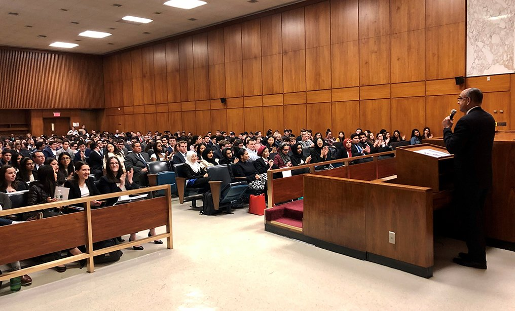 Administrative Judge of Nassau County Norman St. George welcomed over 400 high school students, educators and parents to the 2020 New York State Mock Trial Tournament held in the Nassau County Supreme Court on Wednesday, March 4th. The Mock Trial Tournament is a joint initiative sponsored by the New York State Bar Association, the Nassau County Bar Association and hosted by the Nassau County Courts. It continues to be one of the largest in New York State. The annual tournament allows teams of high school students to compete trying complex legal matters before volunteer judges and attorneys in the Supreme Court courthouse. As in past years, 48 public and private high schools from Nassau County will participate. The winning team from Nassau County continues on to compete for the New York State championship title. Photo: Daniel Bagnuola