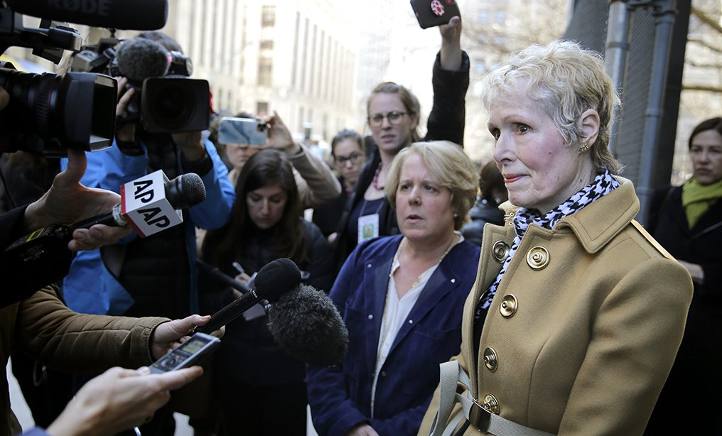 E. Jean Carroll, right, talks to reporters outside Manhattan Supreme Court, Wednesday, March 4. Her attorney Roberta Kaplan is at left. Photo: Seth Wenig/AP