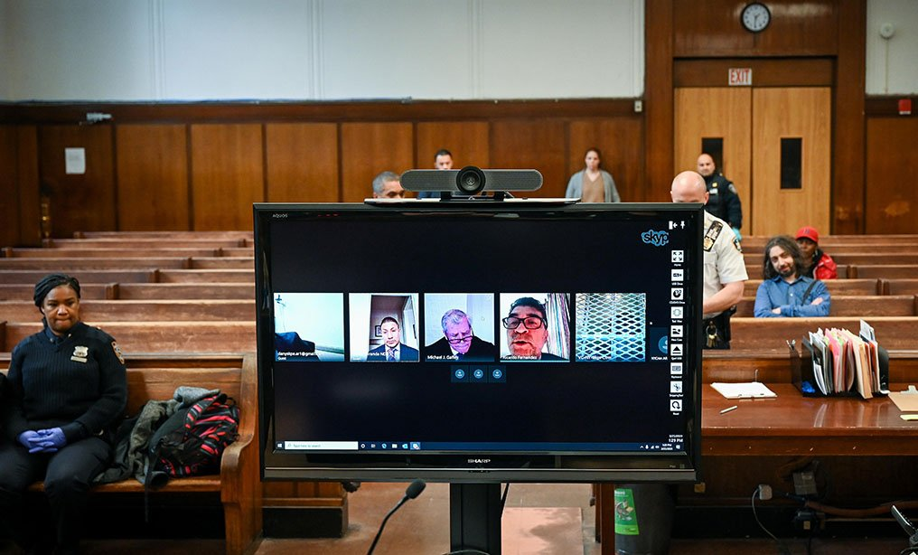 A virtual arraignment is conducted at Criminal Court in New York. Gradually all state courts are moving to virtual court operations. Photo: New York Unified Court System via AP