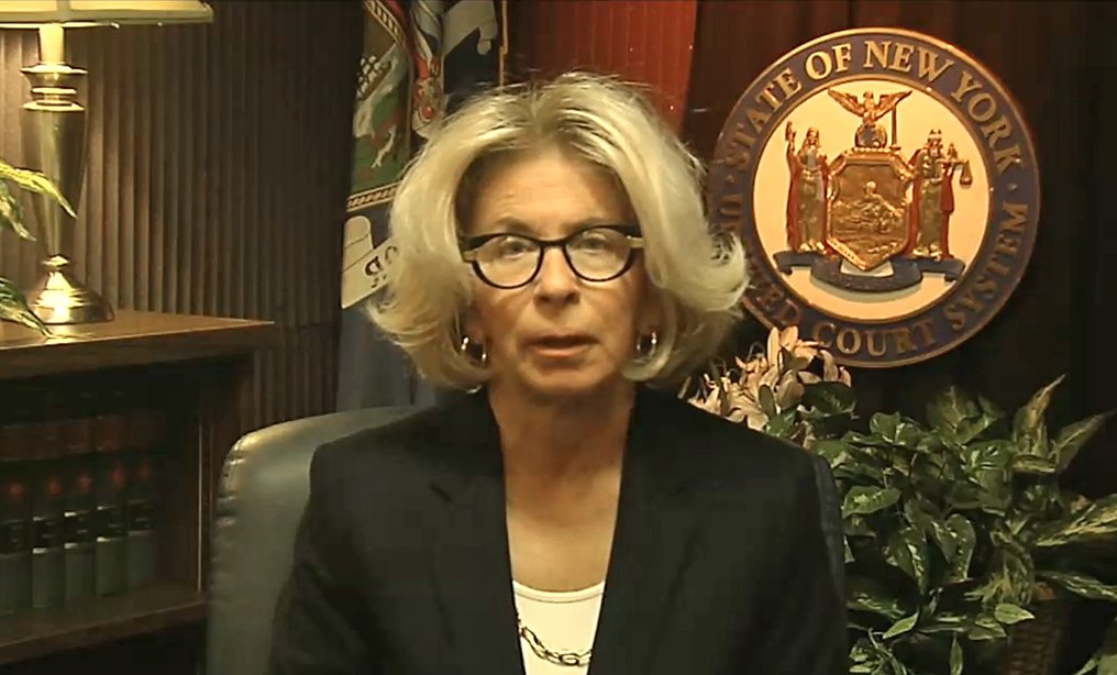 Chief Judge Janet DiFiore delivers an important message regarding coronavirus. Photo: New York State Unified Court System